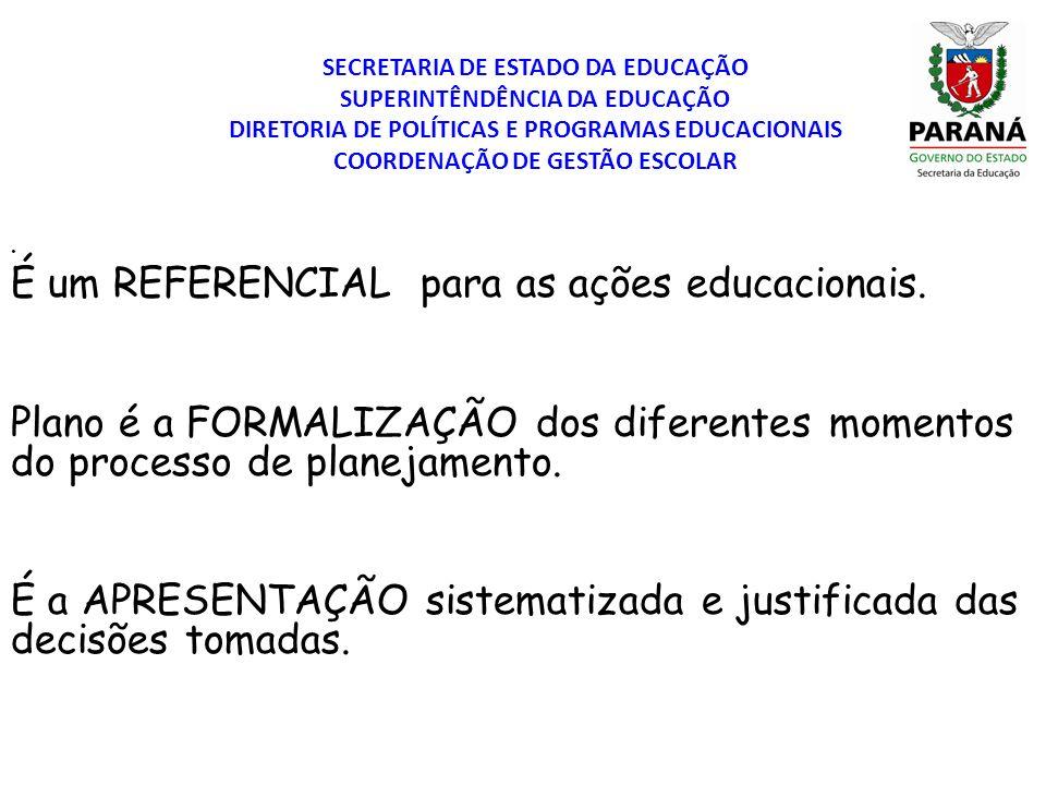 SECRETARIA DE ESTADO DA EDUCAÇÃO SUPERINTÊNDÊNCIA DA EDUCAÇÃO DIRETORIA DE POLÍTICAS E PROGRAMAS EDUCACIONAIS COORDENAÇÃO DE GESTÃO ESCOLAR. É um REFE