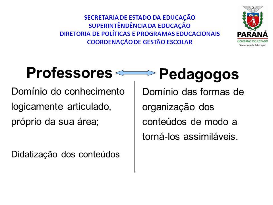 SECRETARIA DE ESTADO DA EDUCAÇÃO SUPERINTÊNDÊNCIA DA EDUCAÇÃO DIRETORIA DE POLÍTICAS E PROGRAMAS EDUCACIONAIS COORDENAÇÃO DE GESTÃO ESCOLAR Professore