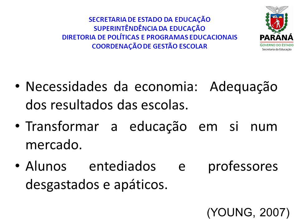 SECRETARIA DE ESTADO DA EDUCAÇÃO SUPERINTÊNDÊNCIA DA EDUCAÇÃO DIRETORIA DE POLÍTICAS E PROGRAMAS EDUCACIONAIS COORDENAÇÃO DE GESTÃO ESCOLAR (YOUNG, 2007) Por que os pais, às vezes com grande sacrifício, especialmente em países em desenvolvimento, têm historicamente tentado manter seus filhos na escola cada vez por mais tempo.