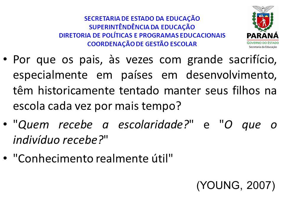 SECRETARIA DE ESTADO DA EDUCAÇÃO SUPERINTÊNDÊNCIA DA EDUCAÇÃO DIRETORIA DE POLÍTICAS E PROGRAMAS EDUCACIONAIS COORDENAÇÃO DE GESTÃO ESCOLAR QUINO, 2006