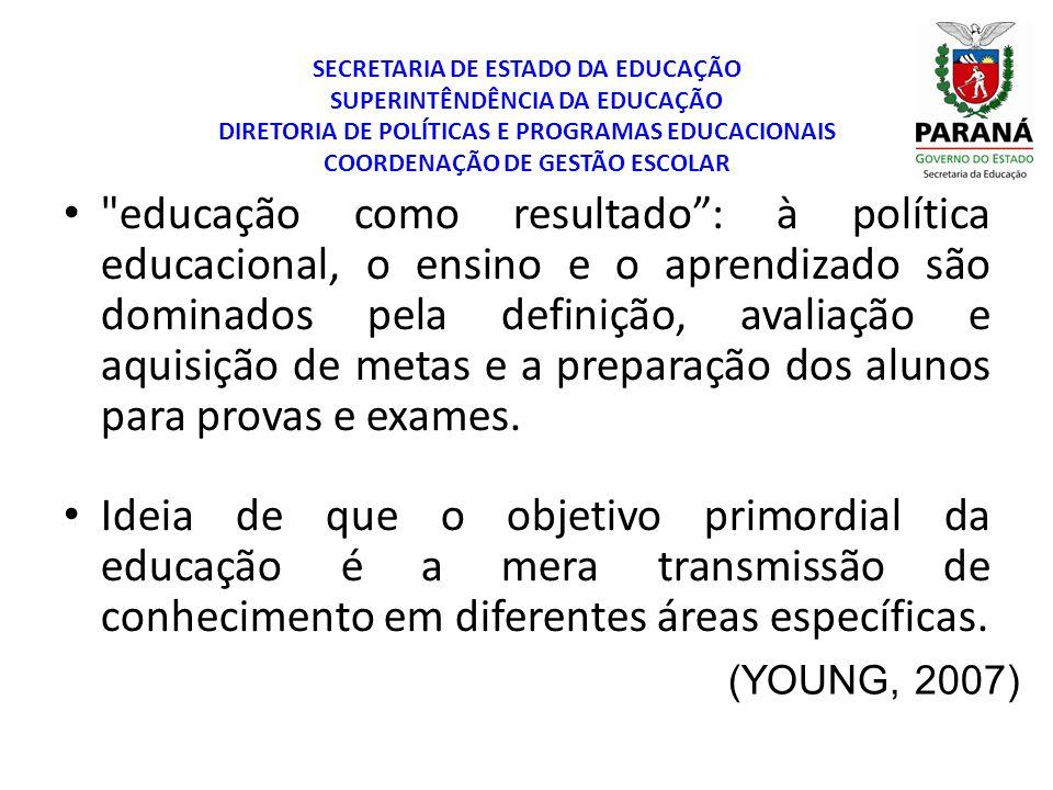 SECRETARIA DE ESTADO DA EDUCAÇÃO SUPERINTÊNDÊNCIA DA EDUCAÇÃO DIRETORIA DE POLÍTICAS E PROGRAMAS EDUCACIONAIS COORDENAÇÃO DE GESTÃO ESCOLAR (YOUNG, 2007) AS ESCOLAS SERVEM PARA...