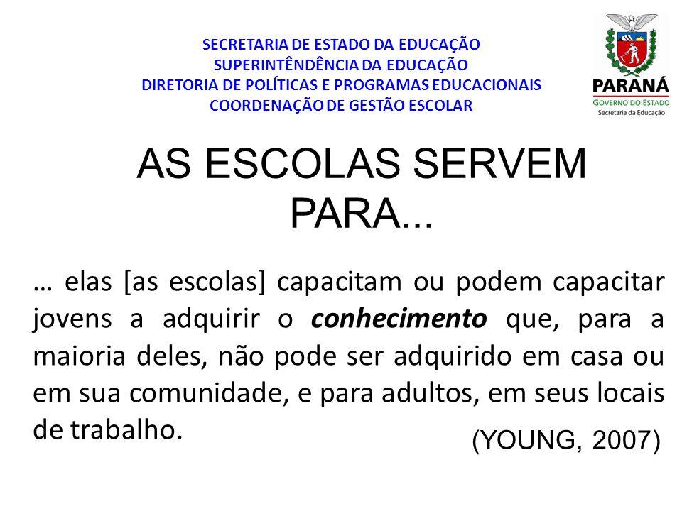 SECRETARIA DE ESTADO DA EDUCAÇÃO SUPERINTÊNDÊNCIA DA EDUCAÇÃO DIRETORIA DE POLÍTICAS E PROGRAMAS EDUCACIONAIS COORDENAÇÃO DE GESTÃO ESCOLAR CONDIÇÕES ATUAIS A escola mantém seu caráter dualista; divisão de classes; Organização escolar seriada; seletividade; Universalização do acesso; A educação como possibilidade de transformação da sociedade; Modelo de infância/ adolescência – padrões definidos pelo sistema capitalista; Desafio à escola: planejar para cada criança; educar a todas e cada uma; Organização do trabalho didático: uma possibilidade de trabalho não alienado dos professores.