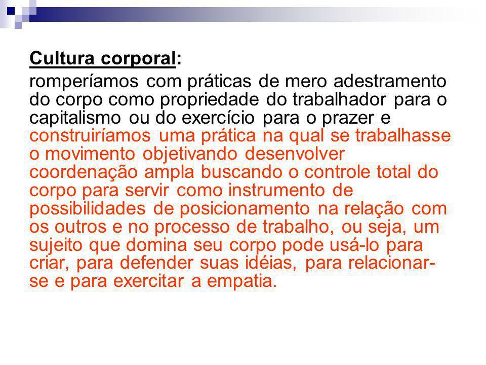 Cultura corporal: romperíamos com práticas de mero adestramento do corpo como propriedade do trabalhador para o capitalismo ou do exercício para o pra