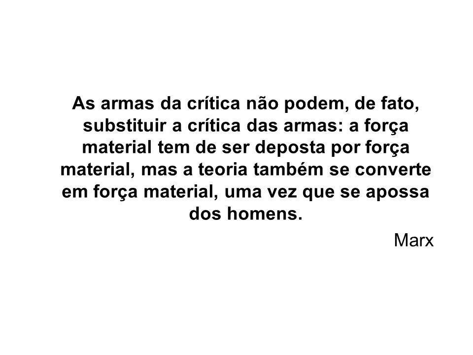 As armas da crítica não podem, de fato, substituir a crítica das armas: a força material tem de ser deposta por força material, mas a teoria também se