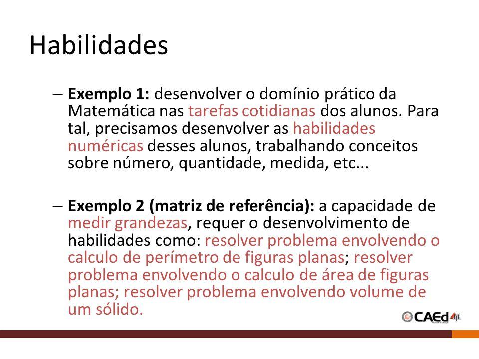 Habilidades – Exemplo 1: desenvolver o domínio prático da Matemática nas tarefas cotidianas dos alunos.