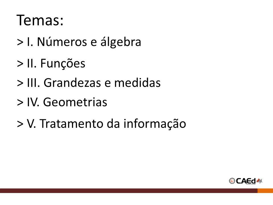 Temas: > I.Números e álgebra > II. Funções > III.