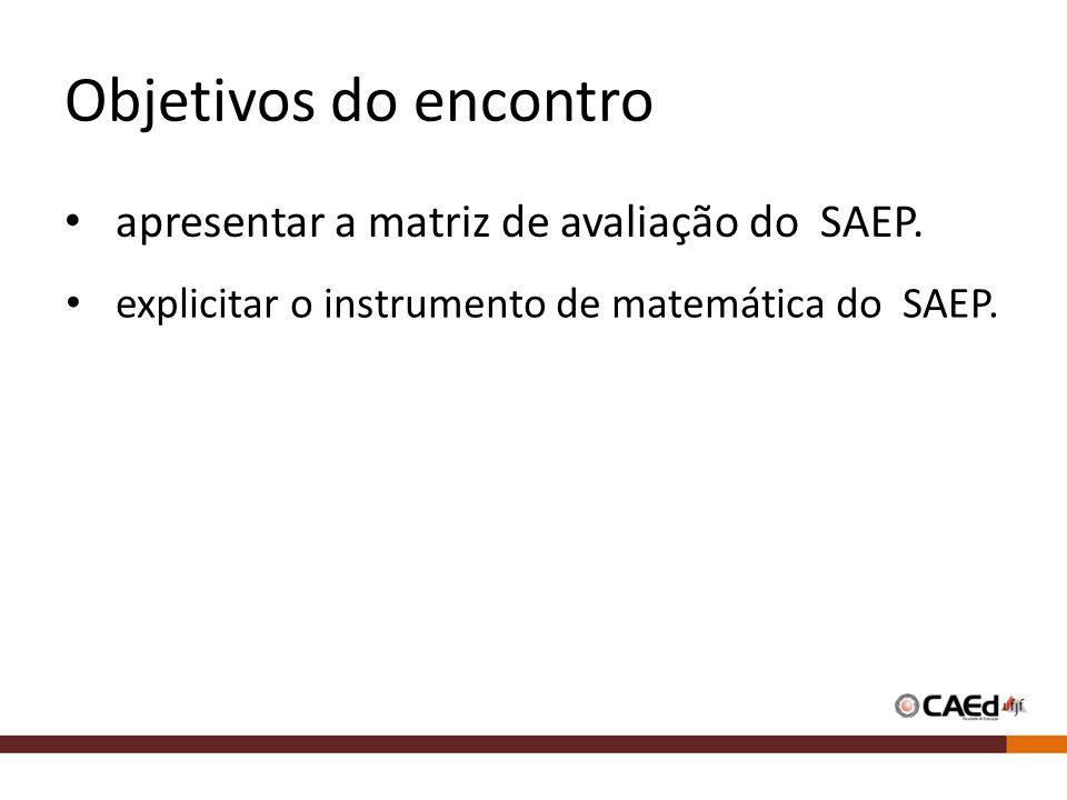 Objetivos do encontro apresentar a matriz de avaliação do SAEP.