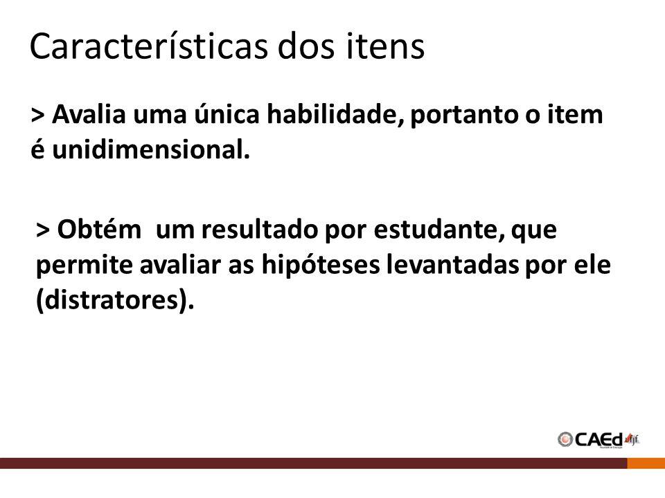 Características dos itens > Avalia uma única habilidade, portanto o item é unidimensional.