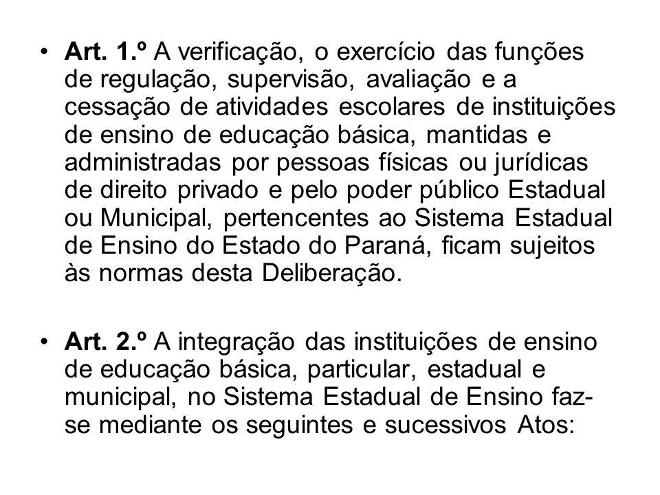 Art. 1.º A verificação, o exercício das funções de regulação, supervisão, avaliação e a cessação de atividades escolares de instituições de ensino de