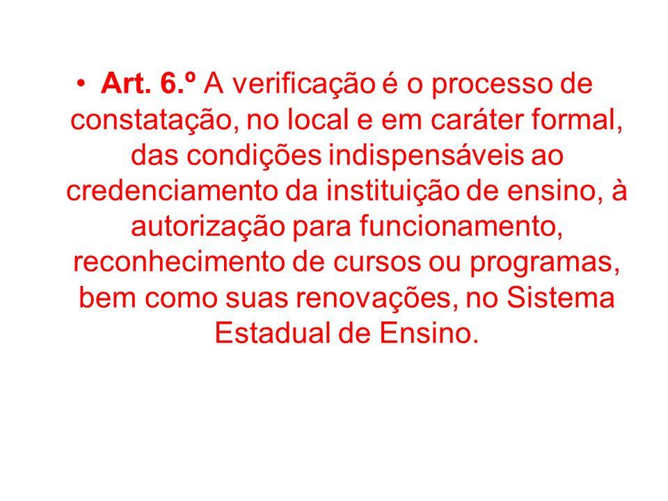 Art. 6.º A verificação é o processo de constatação, no local e em caráter formal, das condições indispensáveis ao credenciamento da instituição de ens