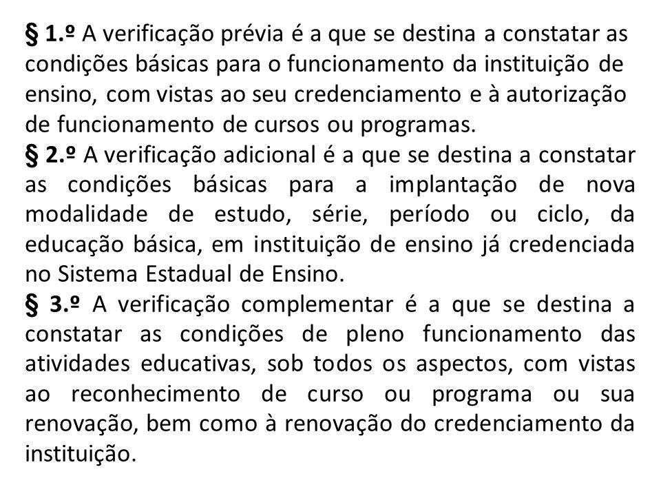 § 1.º A verificação prévia é a que se destina a constatar as condições básicas para o funcionamento da instituição de ensino, com vistas ao seu creden