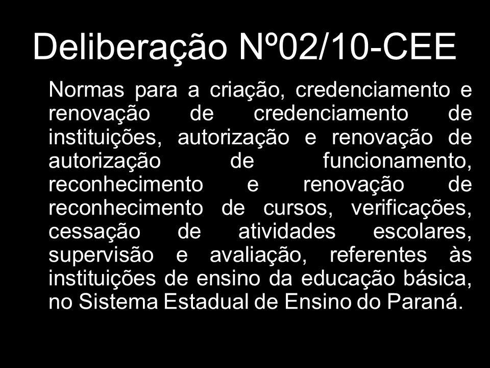 O Conselho pleno do CONSELHO ESTADUAL DE EDUCAÇÃO do Estado do Paraná, aprovou, em 12/11/10, a Deliberação nº 02/10, publicado no D.O.E.