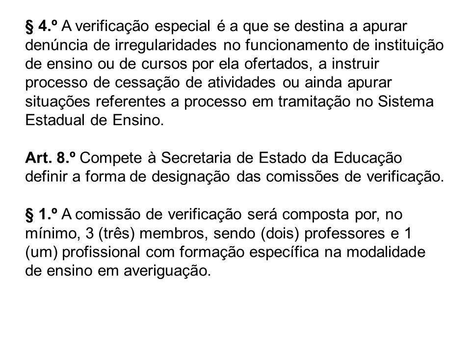 § 4.º A verificação especial é a que se destina a apurar denúncia de irregularidades no funcionamento de instituição de ensino ou de cursos por ela of