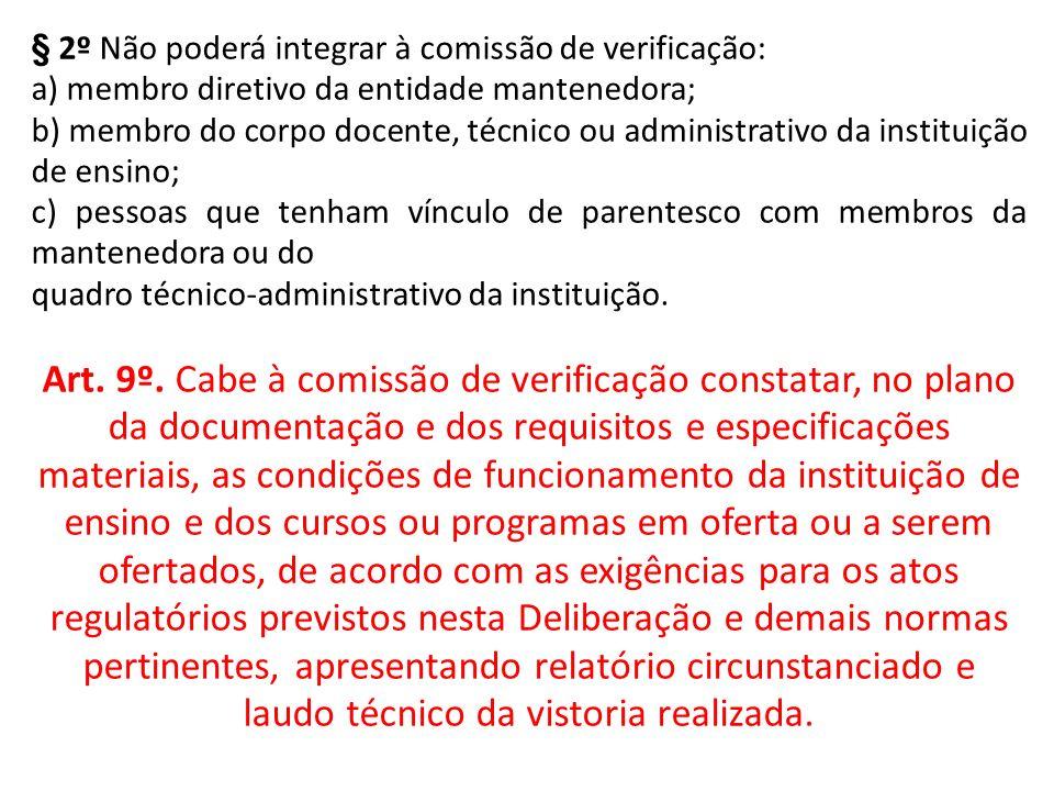 § 2º Não poderá integrar à comissão de verificação: a) membro diretivo da entidade mantenedora; b) membro do corpo docente, técnico ou administrativo