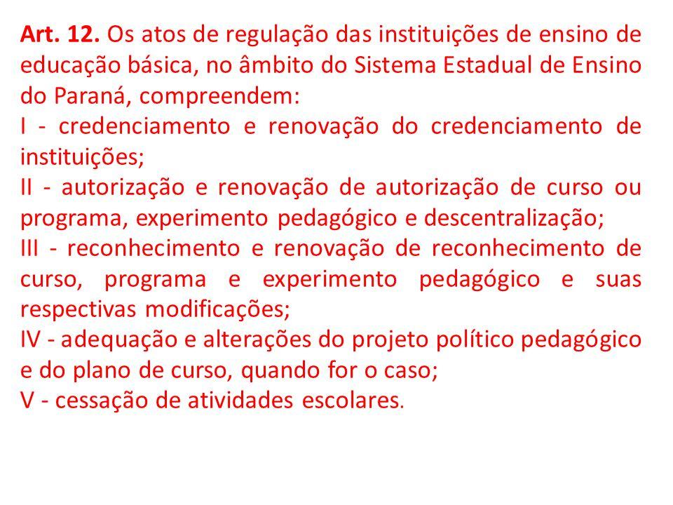 Art. 12. Os atos de regulação das instituições de ensino de educação básica, no âmbito do Sistema Estadual de Ensino do Paraná, compreendem: I - crede