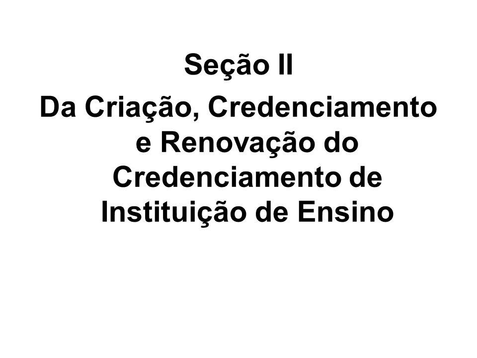 Seção II Da Criação, Credenciamento e Renovação do Credenciamento de Instituição de Ensino