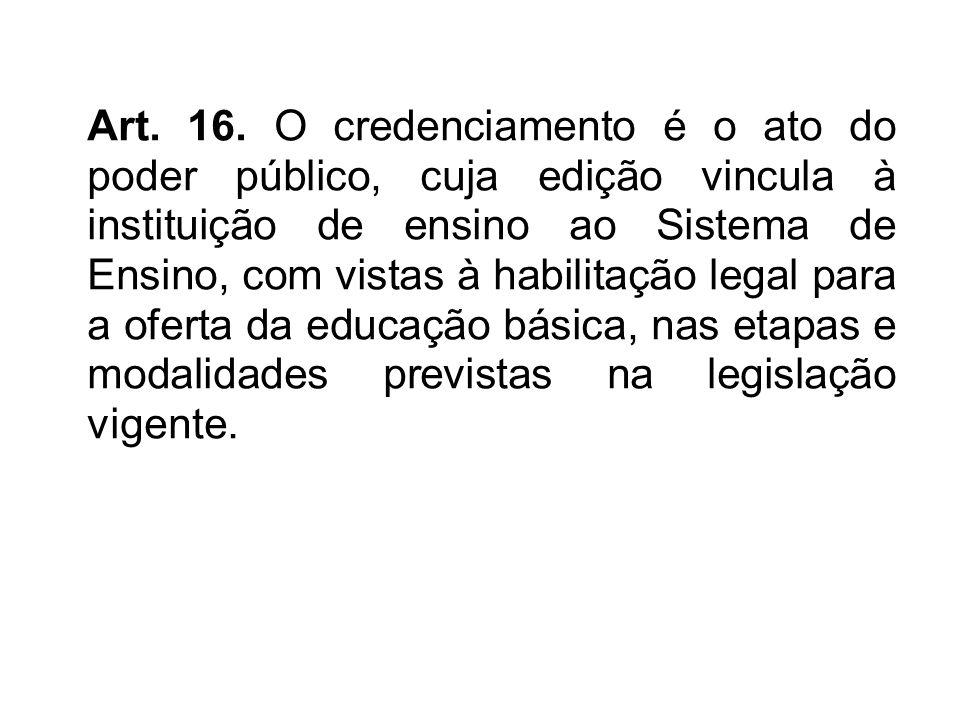 Art. 16. O credenciamento é o ato do poder público, cuja edição vincula à instituição de ensino ao Sistema de Ensino, com vistas à habilitação legal p