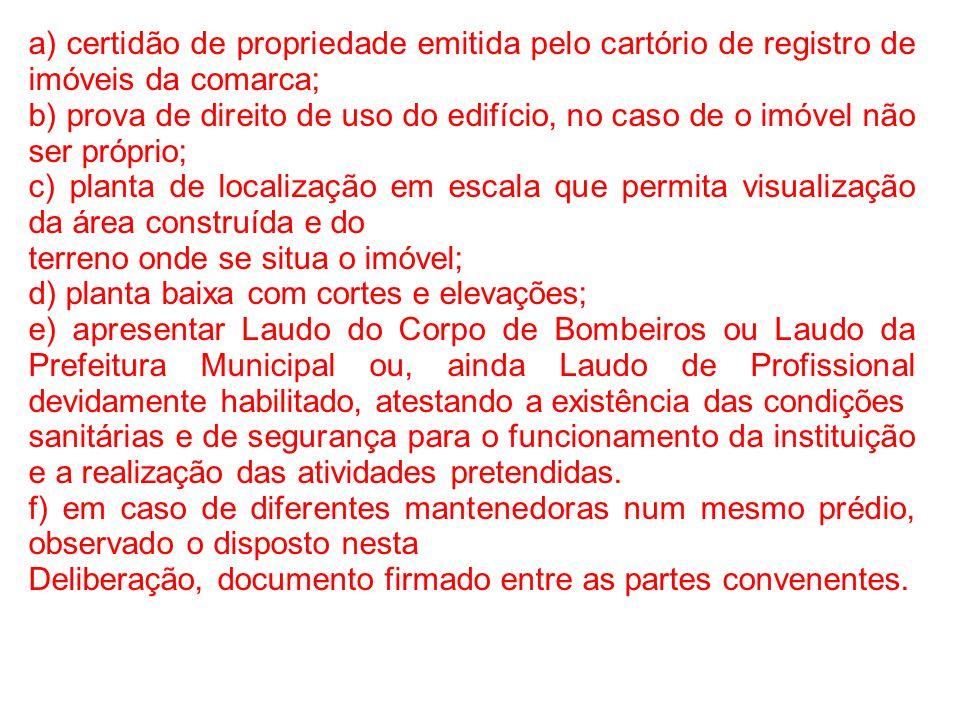 a) certidão de propriedade emitida pelo cartório de registro de imóveis da comarca; b) prova de direito de uso do edifício, no caso de o imóvel não se
