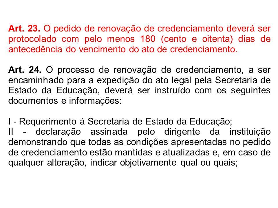 Art. 23. O pedido de renovação de credenciamento deverá ser protocolado com pelo menos 180 (cento e oitenta) dias de antecedência do vencimento do ato