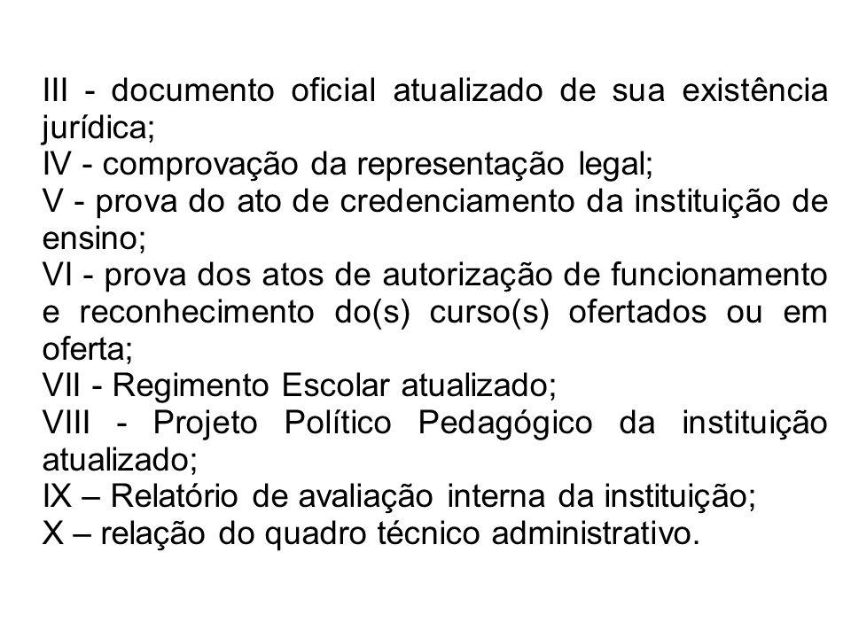 III - documento oficial atualizado de sua existência jurídica; IV - comprovação da representação legal; V - prova do ato de credenciamento da institui