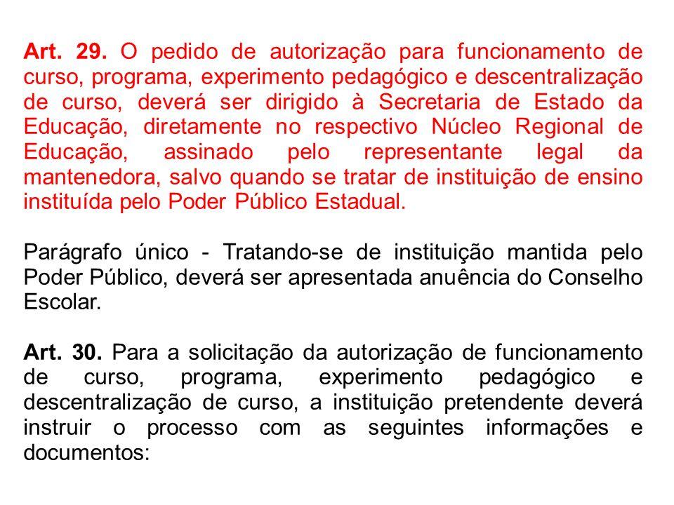 Art. 29. O pedido de autorização para funcionamento de curso, programa, experimento pedagógico e descentralização de curso, deverá ser dirigido à Secr