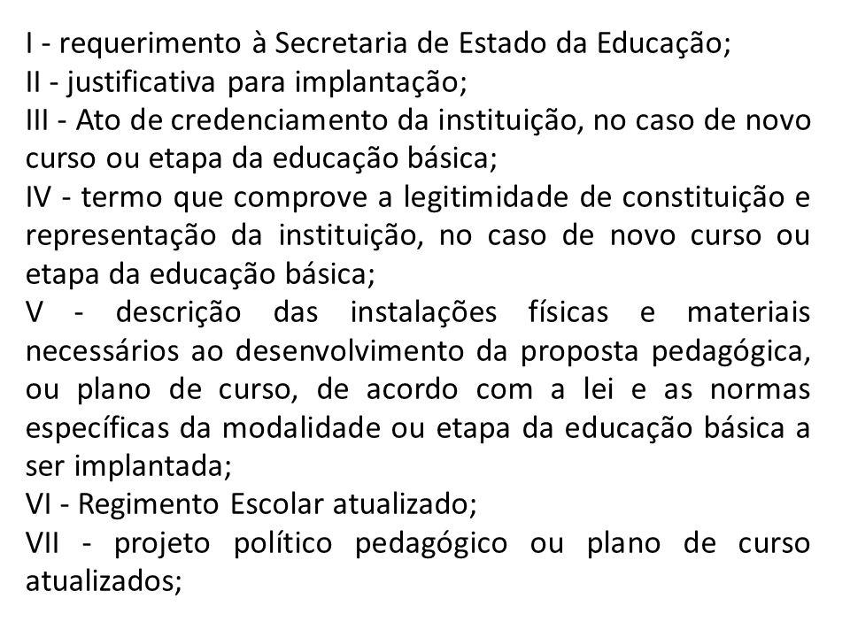 I - requerimento à Secretaria de Estado da Educação; II - justificativa para implantação; III - Ato de credenciamento da instituição, no caso de novo