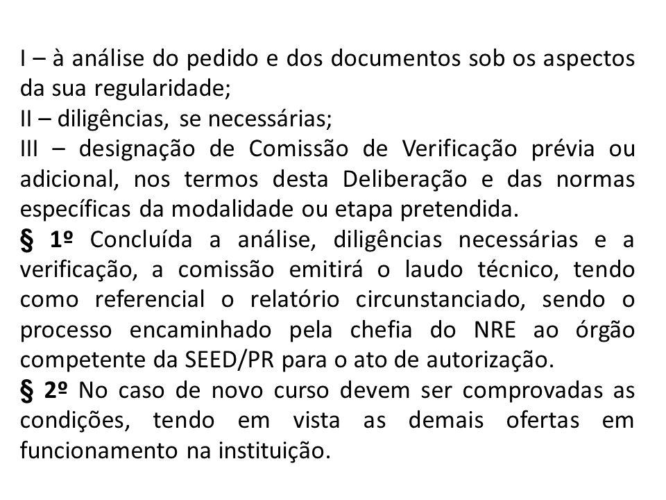 I – à análise do pedido e dos documentos sob os aspectos da sua regularidade; II – diligências, se necessárias; III – designação de Comissão de Verifi