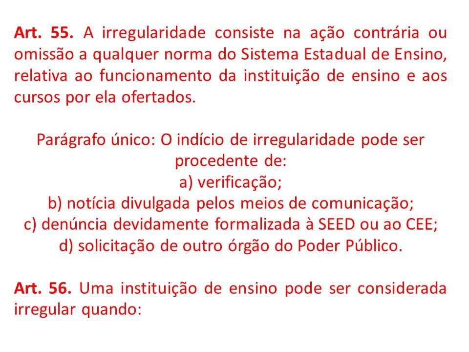 Art. 55. A irregularidade consiste na ação contrária ou omissão a qualquer norma do Sistema Estadual de Ensino, relativa ao funcionamento da instituiç