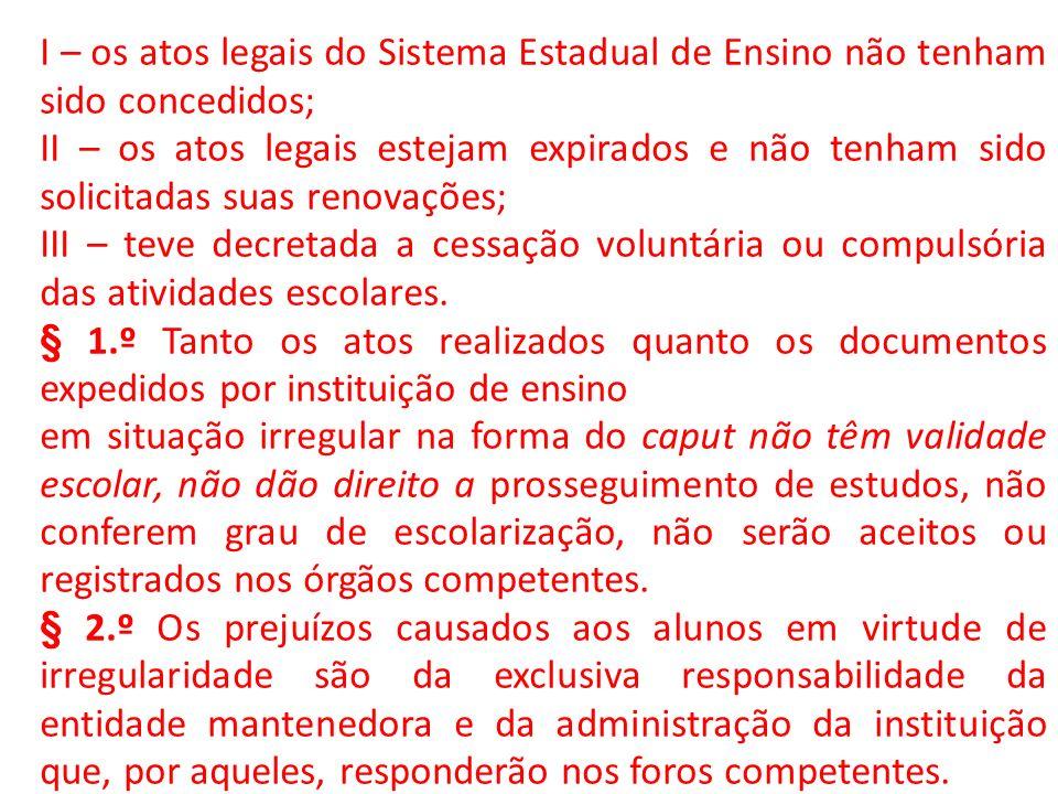 I – os atos legais do Sistema Estadual de Ensino não tenham sido concedidos; II – os atos legais estejam expirados e não tenham sido solicitadas suas