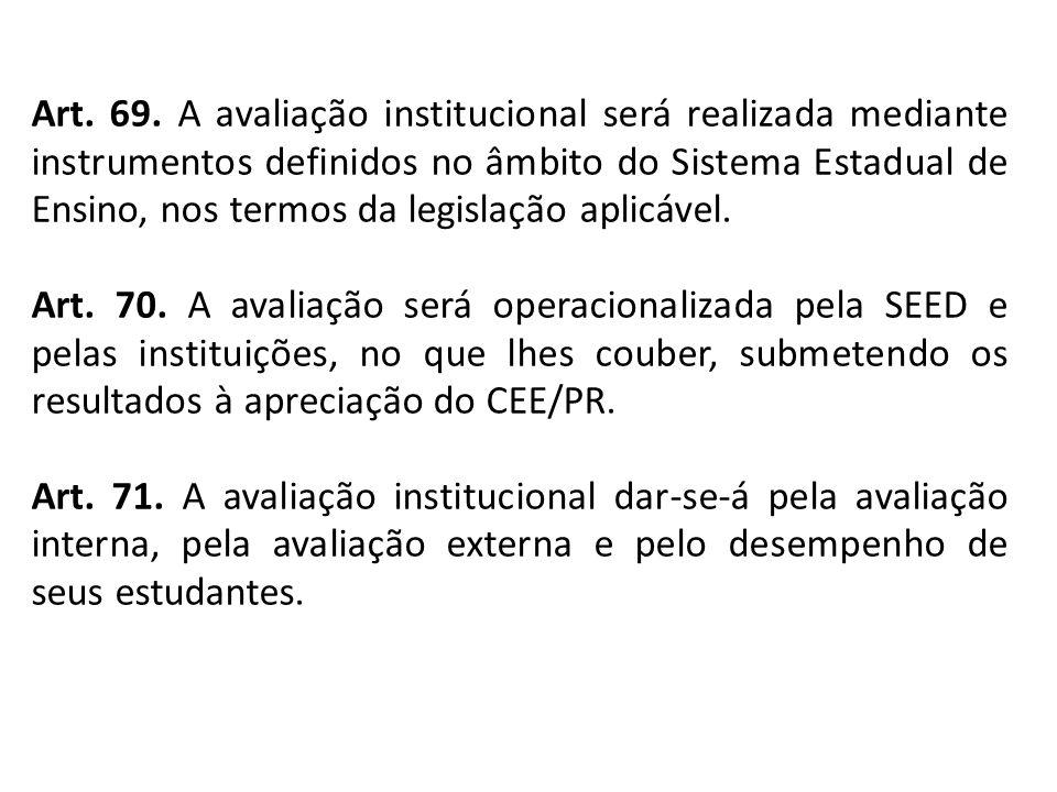 Art. 69. A avaliação institucional será realizada mediante instrumentos definidos no âmbito do Sistema Estadual de Ensino, nos termos da legislação ap