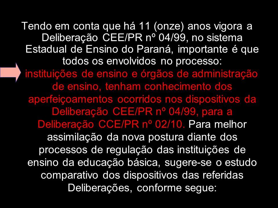 Tendo em conta que há 11 (onze) anos vigora a Deliberação CEE/PR nº 04/99, no sistema Estadual de Ensino do Paraná, importante é que todos os envolvid