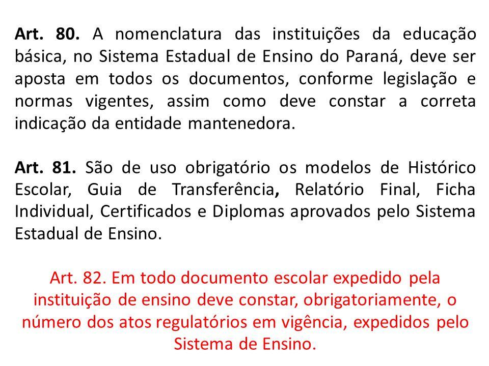 Art. 80. A nomenclatura das instituições da educação básica, no Sistema Estadual de Ensino do Paraná, deve ser aposta em todos os documentos, conforme