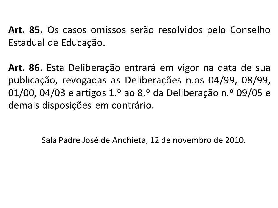 Art. 85. Os casos omissos serão resolvidos pelo Conselho Estadual de Educação. Art. 86. Esta Deliberação entrará em vigor na data de sua publicação, r