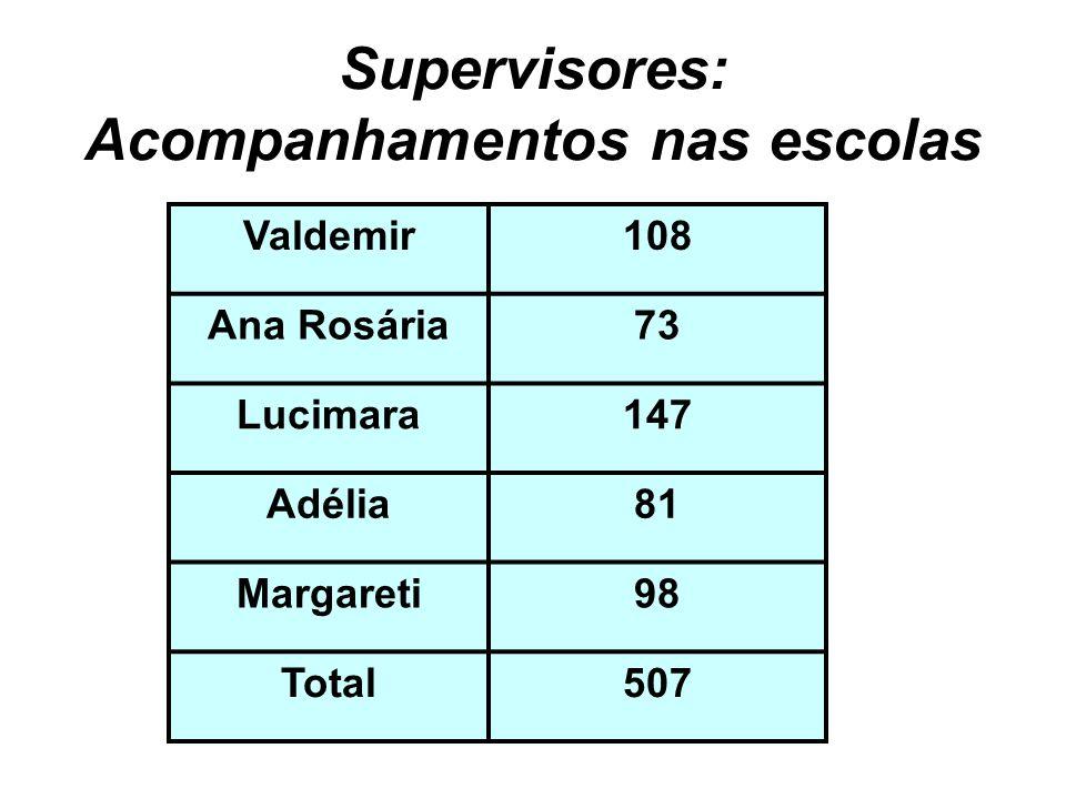 Supervisores: Acompanhamentos nas escolas Valdemir108 Ana Rosária73 Lucimara147 Adélia81 Margareti98 Total507