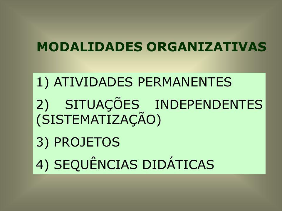 MODALIDADES ORGANIZATIVAS 1) ATIVIDADES PERMANENTES 2) SITUAÇÕES INDEPENDENTES (SISTEMATIZAÇÃO) 3) PROJETOS 4) SEQUÊNCIAS DIDÁTICAS