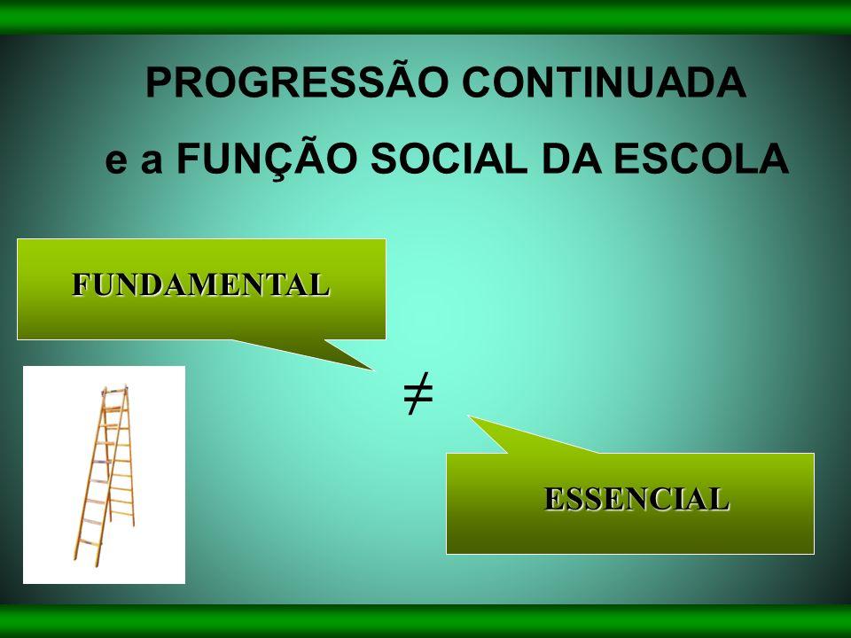 FUNDAMENTAL ESSENCIAL PROGRESSÃO CONTINUADA e a FUNÇÃO SOCIAL DA ESCOLA