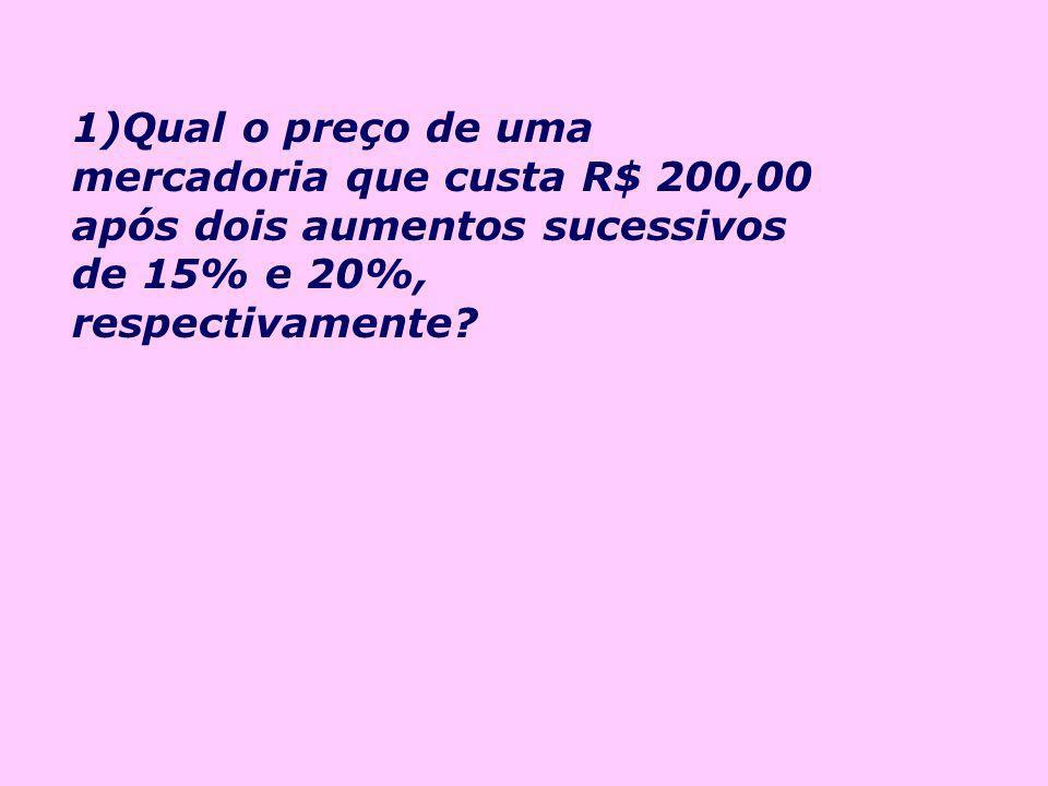 2) Uma TV é vendida por R$ 832,00. Se seu preço fosse aumentado em 20%, quanto passaria a custar?