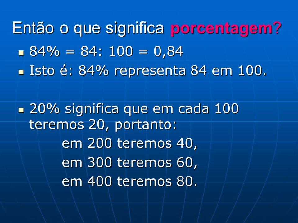 Então o que significa porcentagem? 84% = 84: 100 = 0,84 84% = 84: 100 = 0,84 Isto é: 84% representa 84 em 100. Isto é: 84% representa 84 em 100. 20% s