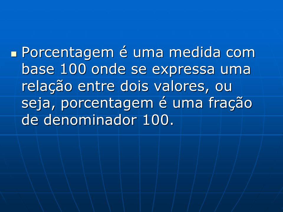 Porcentagem é uma medida com base 100 onde se expressa uma relação entre dois valores, ou seja, porcentagem é uma fração de denominador 100. Porcentag