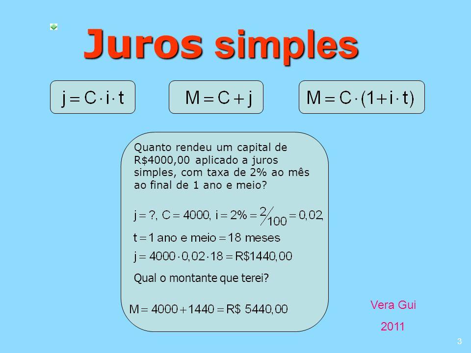 Vera Gui 2011 3 Juros simples Quanto rendeu um capital de R$4000,00 aplicado a juros simples, com taxa de 2% ao mês ao final de 1 ano e meio? Qual o m