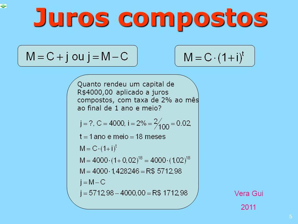 Vera Gui 2011 5 Juros compostos Quanto rendeu um capital de R$4000,00 aplicado a juros compostos, com taxa de 2% ao mês ao final de 1 ano e meio?
