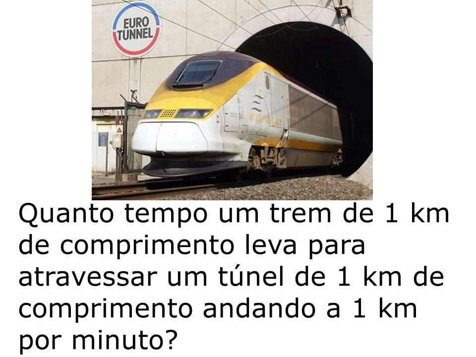 Quanto tempo um trem de 1 km de comprimento leva para atravessar um túnel de 1 km de comprimento andando a 1 km por minuto?