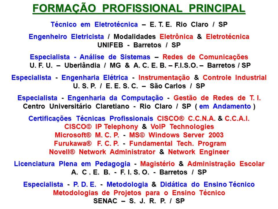 FORMAÇÃO PROFISSIONAL PRINCIPAL Técnico em Eletrotécnica – E. T. E. Rio Claro / SP Engenheiro Eletricista / Modalidades Eletrônica & Eletrotécnica UNI