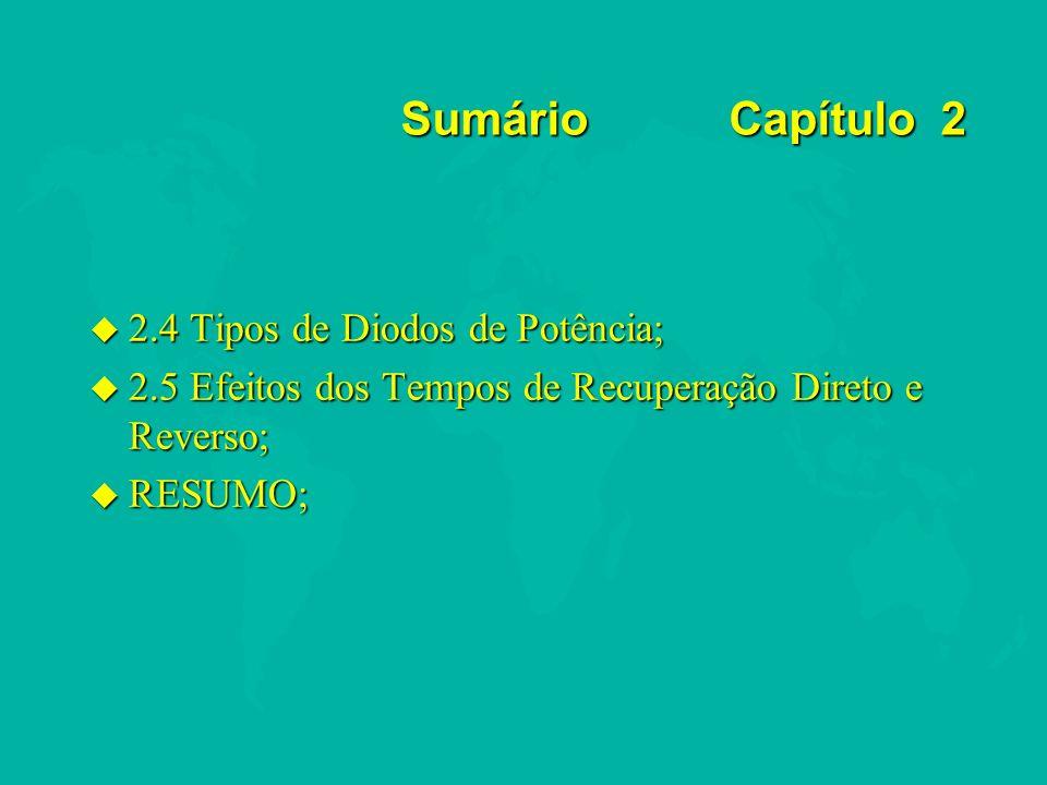 2.4 Tipos de Diodos de Potência u Diodos padrão ou genéricos; u Diodos de recuperação rápida; u Diodos schottky