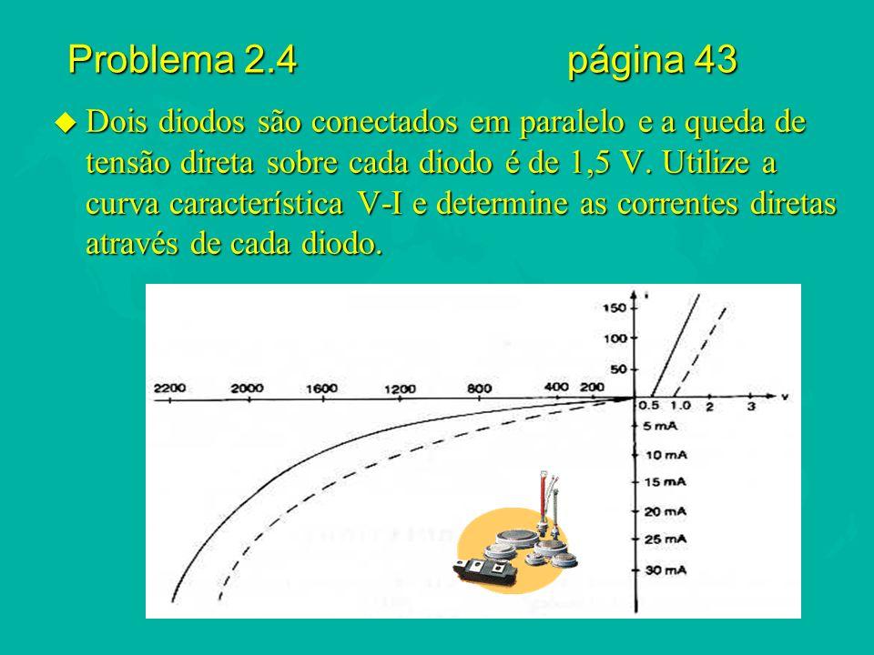 Problema 2.4 página 43 u Dois diodos são conectados em paralelo e a queda de tensão direta sobre cada diodo é de 1,5 V. Utilize a curva característica