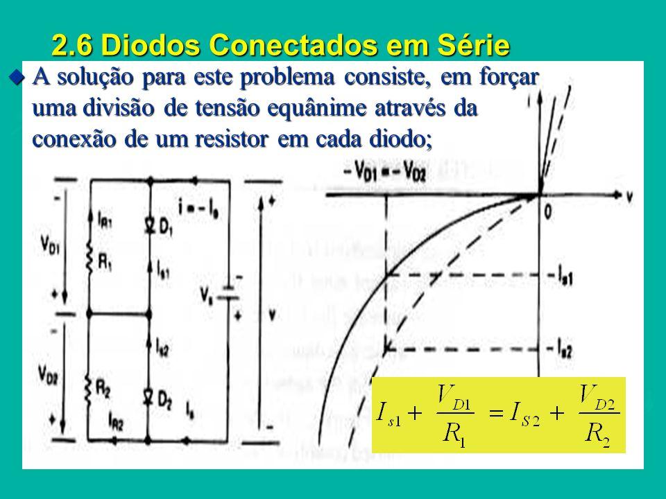 2.6 Diodos Conectados em Série u Sob condições transitórias, bloqueio dos diodos, o equilíbrio entre as tensões é conseguido com a utilização de capacitores em paralelo com os diodos; IFIFIFIF I RR t rr tatatata tbtbtbtb u A resistência R S limita a taxa de crescimento da tensão de bloqueio;