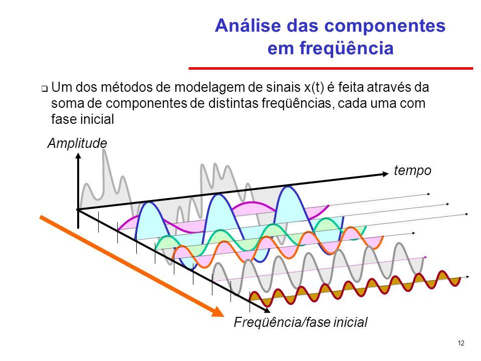 12 Análise das componentes em freqüência Um dos métodos de modelagem de sinais x(t) é feita através da soma de componentes de distintas freqüências, c