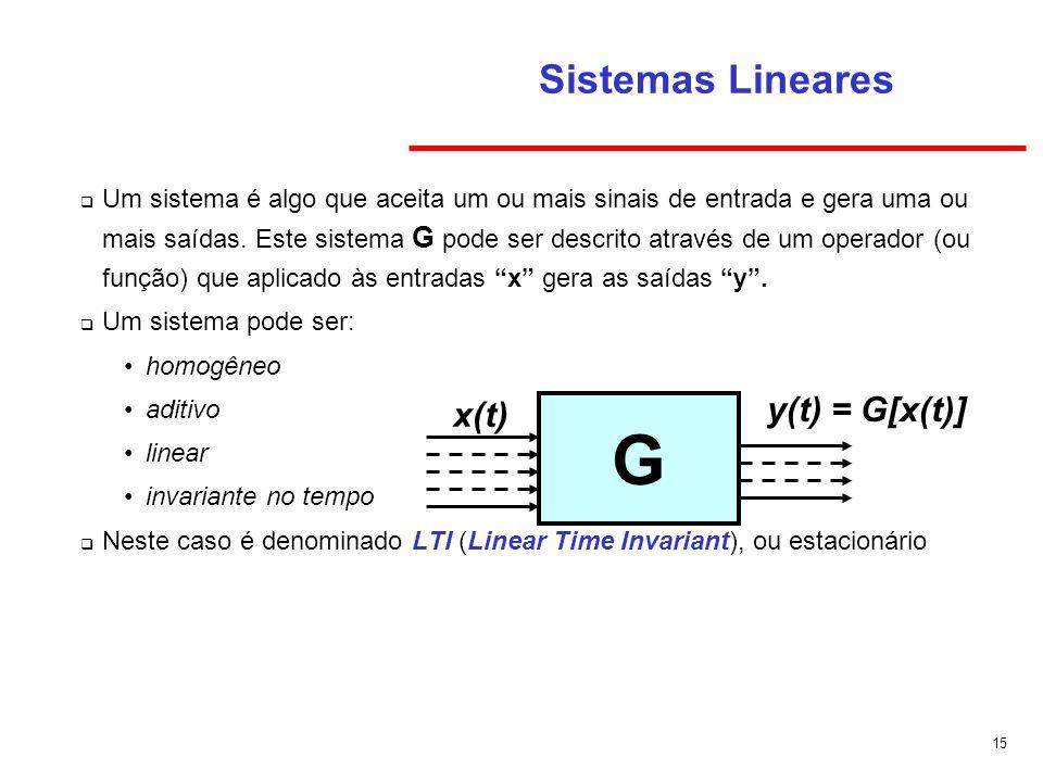 15 Sistemas Lineares Um sistema é algo que aceita um ou mais sinais de entrada e gera uma ou mais saídas. Este sistema G pode ser descrito através de