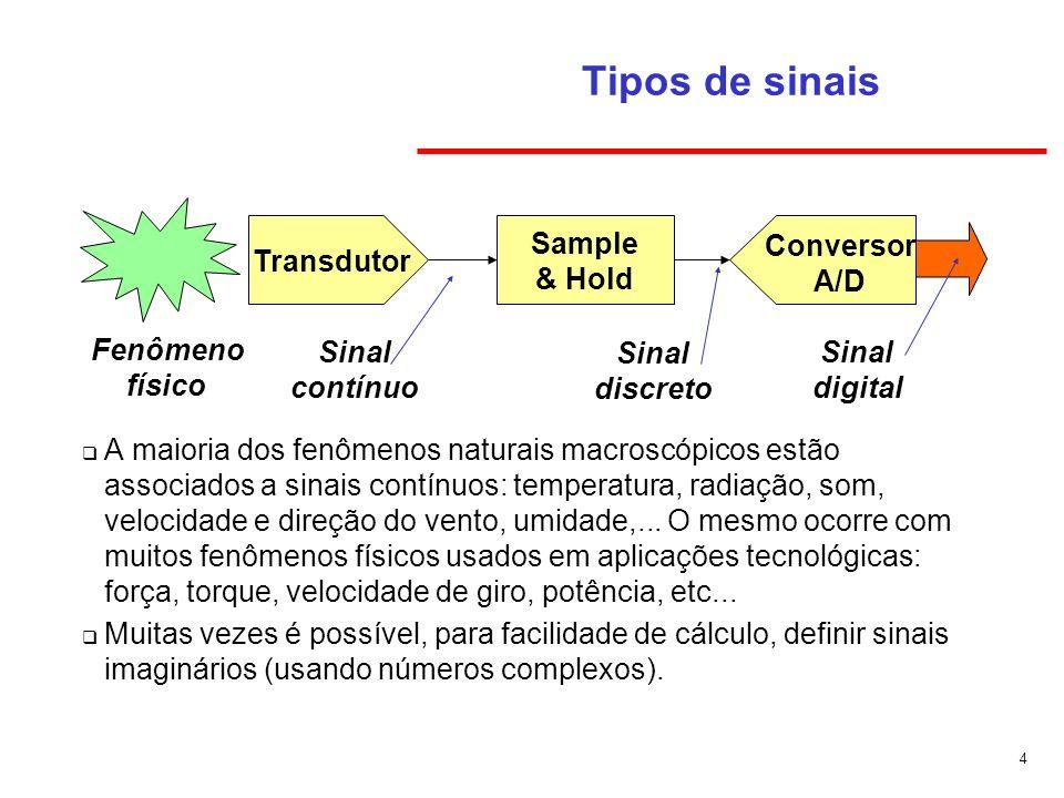4 Tipos de sinais A maioria dos fenômenos naturais macroscópicos estão associados a sinais contínuos: temperatura, radiação, som, velocidade e direção