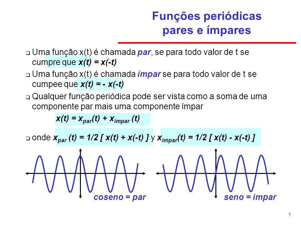 7 Funções periódicas pares e ímpares Uma função x(t) é chamada par, se para todo valor de t se cumpre que x(t) = x(-t) Uma função x(t) é chamada ímpar